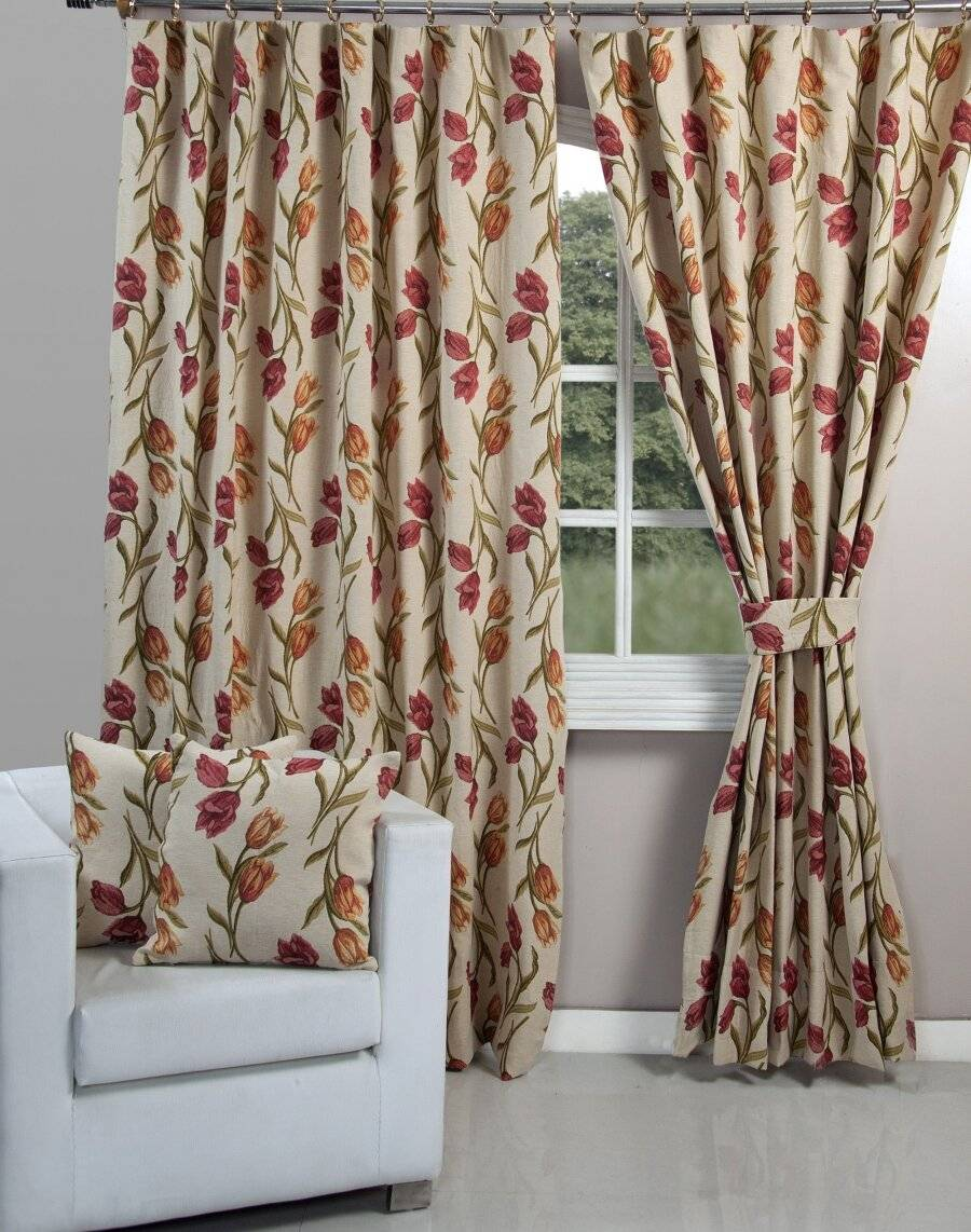 Vintage Tulip Curtain With Tie Backs Elite Housewares