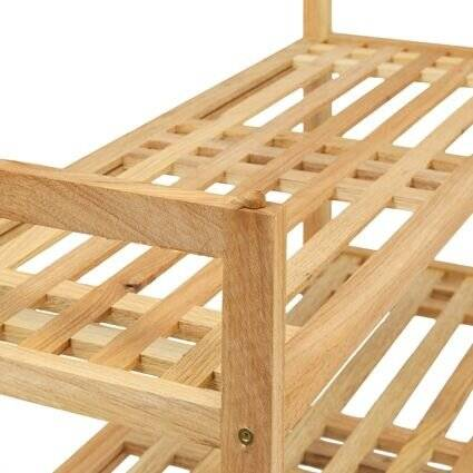 Walnut Two Tier Stackable Shoe Rack Tidy Stand Organiser