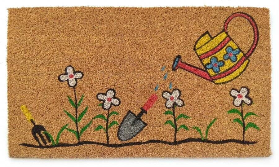 Watering Can and Flowers Decorative Coir & PVC Backed Doormat