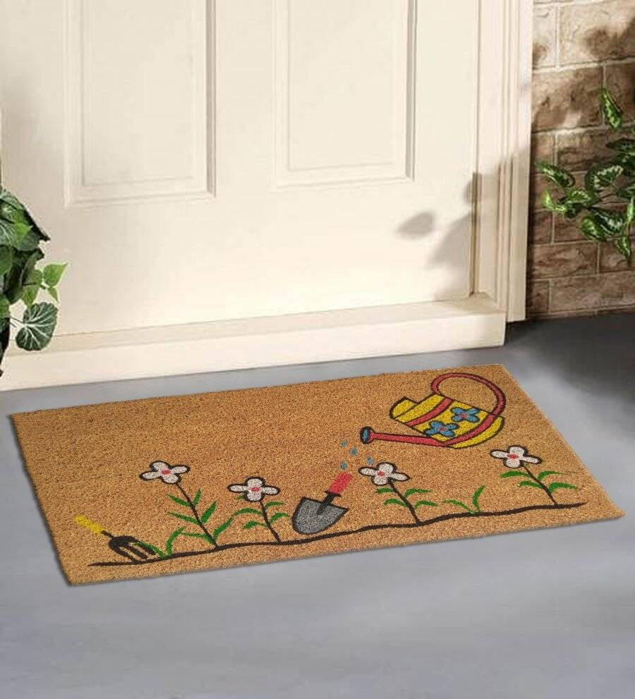 EHC Watering Can and Flowers Decorative Coir & PVC Backed Doormat