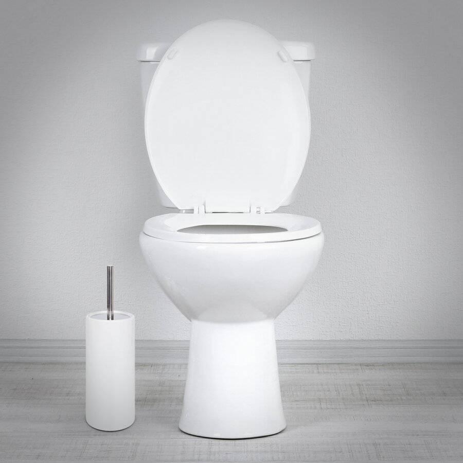 White Porcelain Round Toilet Brush With Toilet Brush Holder