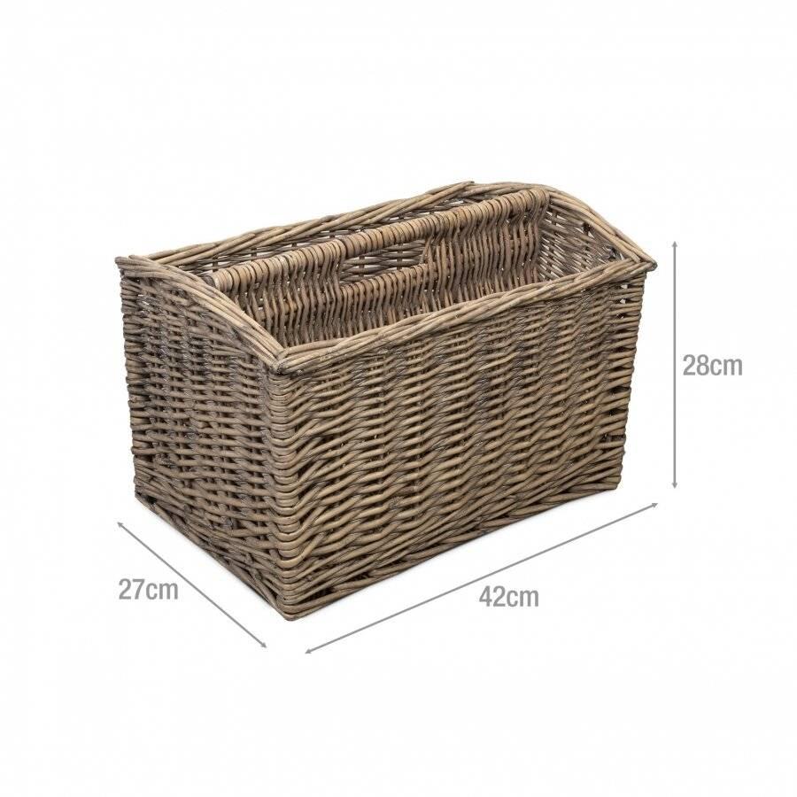 Wicker Magazine Newspaper Storage Rack Holder Basket Box