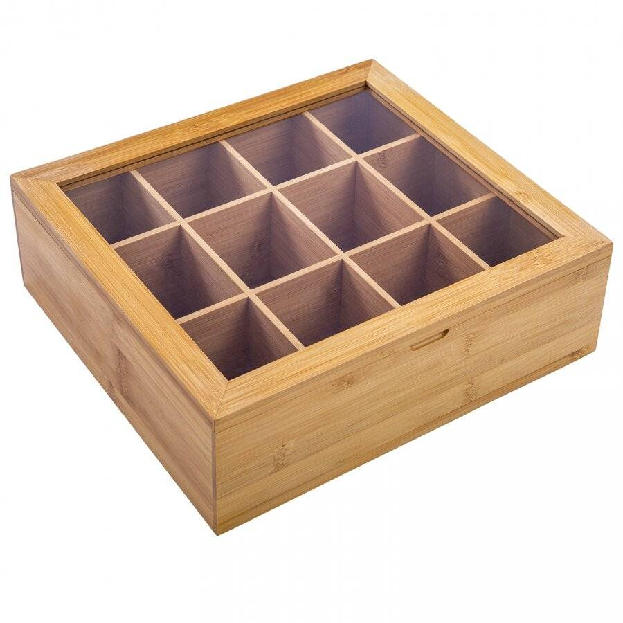 Woodluv 12 Compartment  Bamboo Tea Bag Storage Caddy With Acrylic Lid