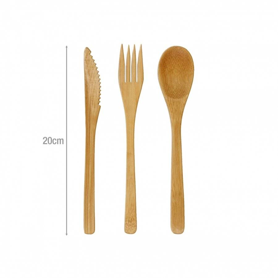 Woodluv Premium Quality 12 Pack Reusable Bamboo Cutlery Set
