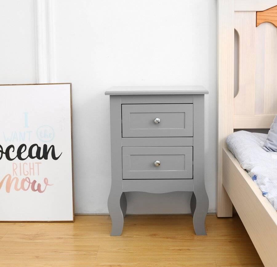 Woodluv 2 Drawer Bedside Cabinet Unit - Grey