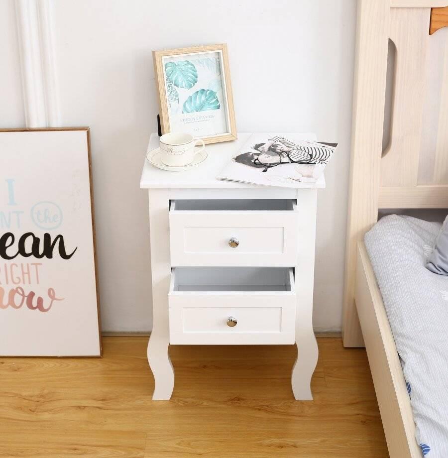 Woodluv 2 Drawer  MDF Bedside Cabinet, White