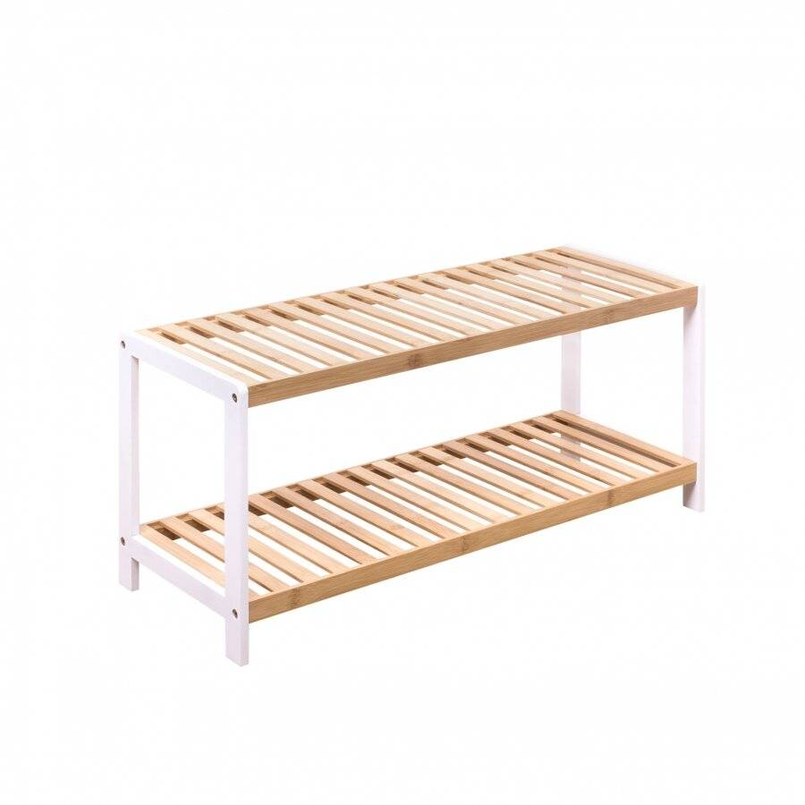 Woodluv 2 Tier Free standing Bamboo Wood Shoe Organizer