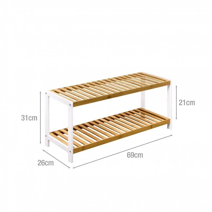 Woodluv 2 Tiers Freestanding Bamboo Wood Shoe Organizer