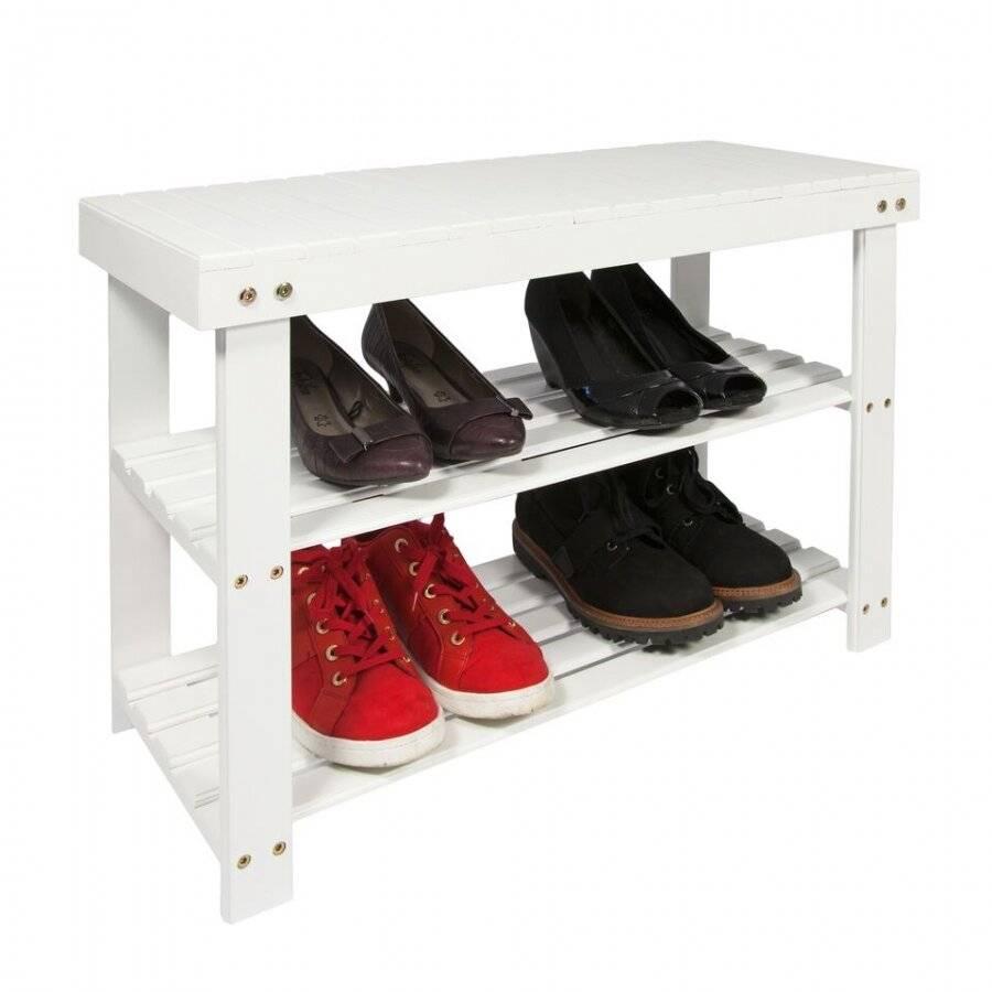 Woodluv 2 Tier MDF Hallway Shoe Organizing Unit  - White