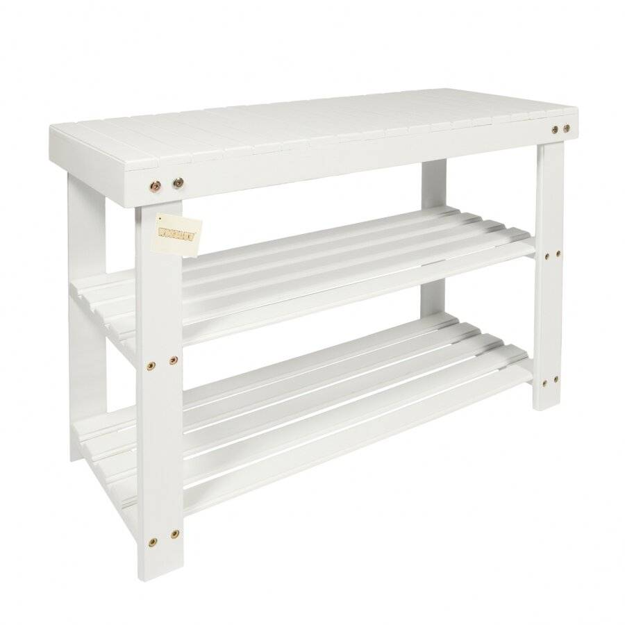 Woodluv 2 Tier MDF Hallway Shoe Organizing Unit - White