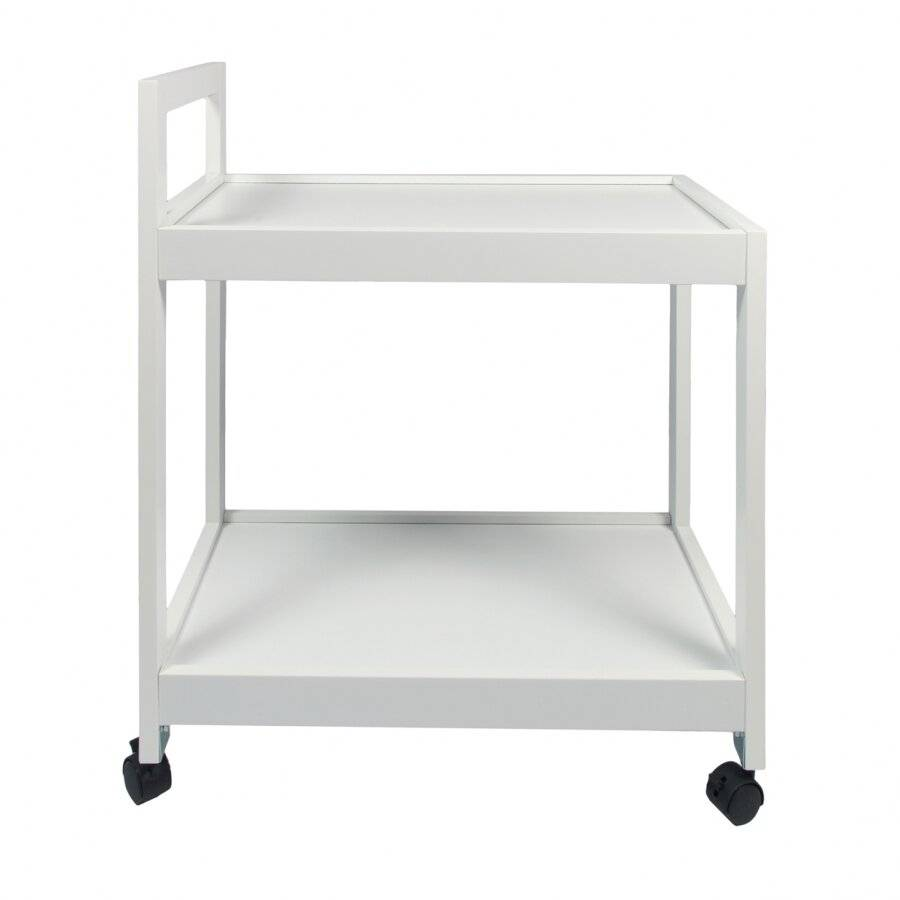Woodluv 2 Tier MDF Kitchen Trolley With Wheels- White