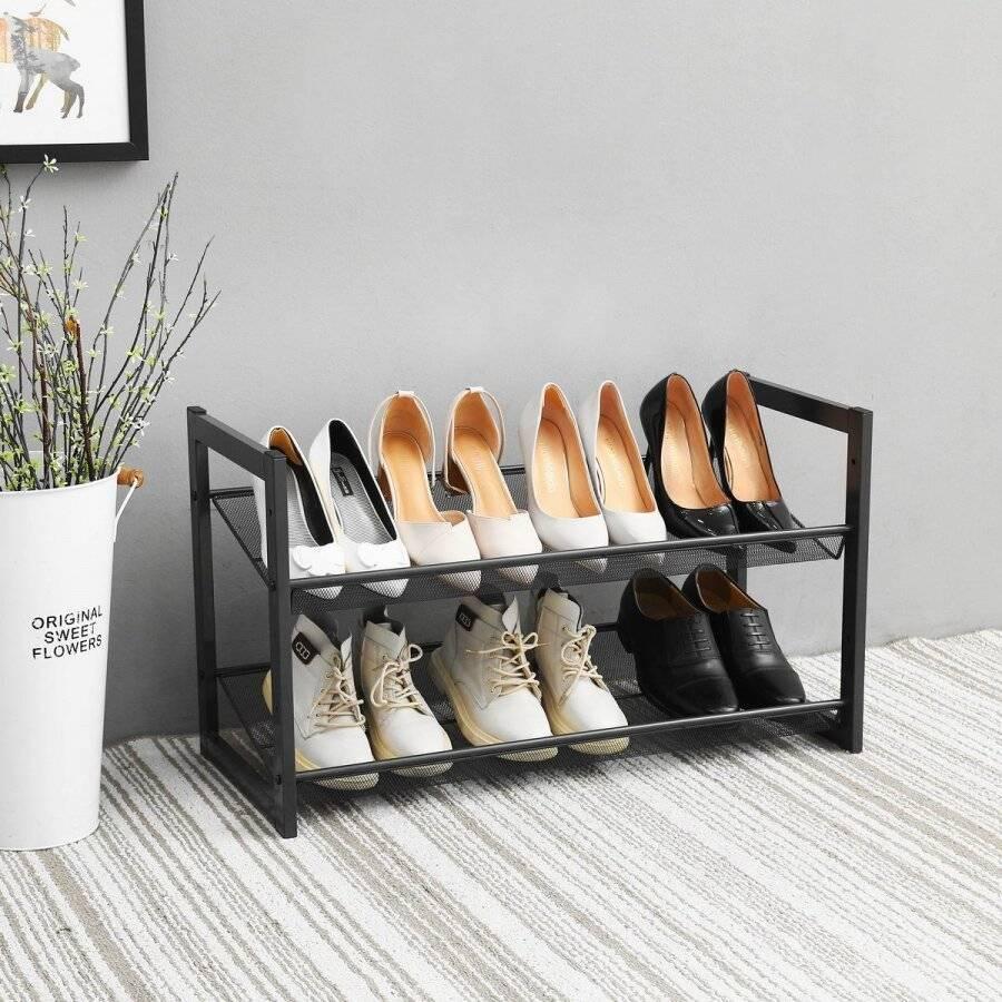 Woodluv 2 Tier Stackable Metal Steel Mesh Shoe Organiser, Grey
