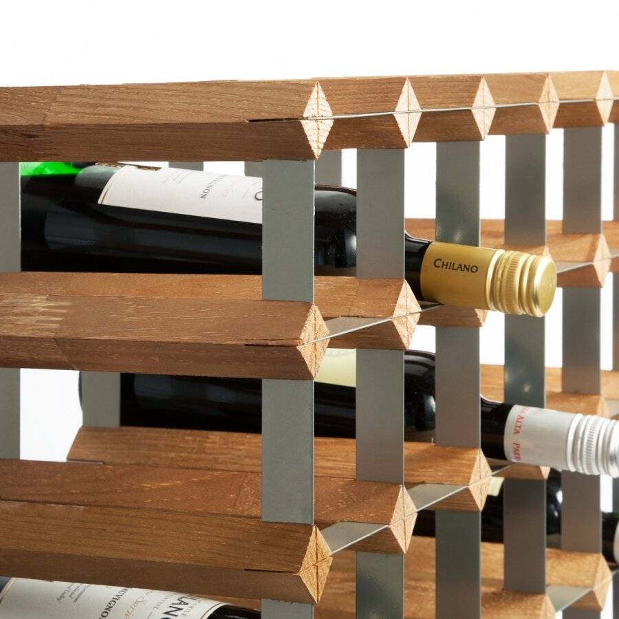 Woodluv 25 Bottle Free Standing Wine Holder Unit - Metal/Pine