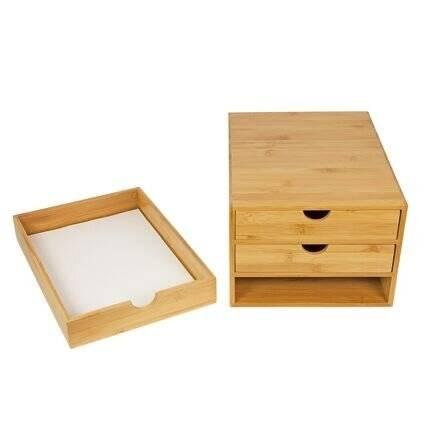Woodluv 3 Drawer Bamboo Stationery Storage Organizer