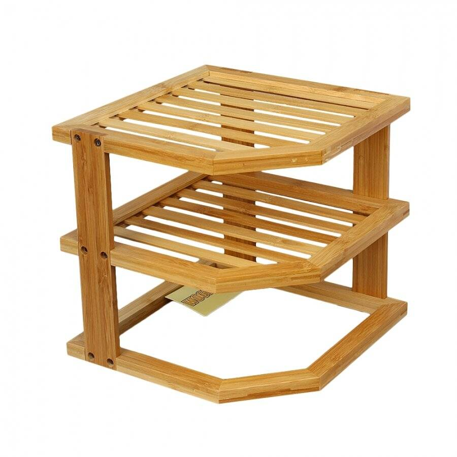 Woodluv 3 Tier Bamboo Space Saving Corner Storage Unit
