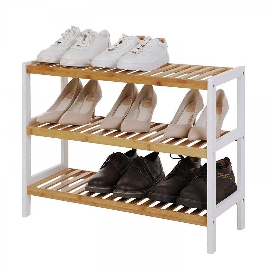 Woodluv 3 Tier Free standing Bamboo Wood Shoe Organizer