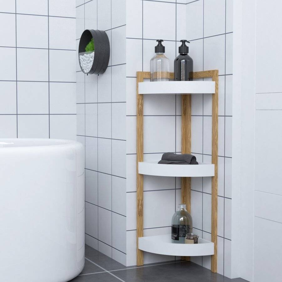 Woodluv 3 Tier Freestanding Bathroom Corner Storage Cabinet - White