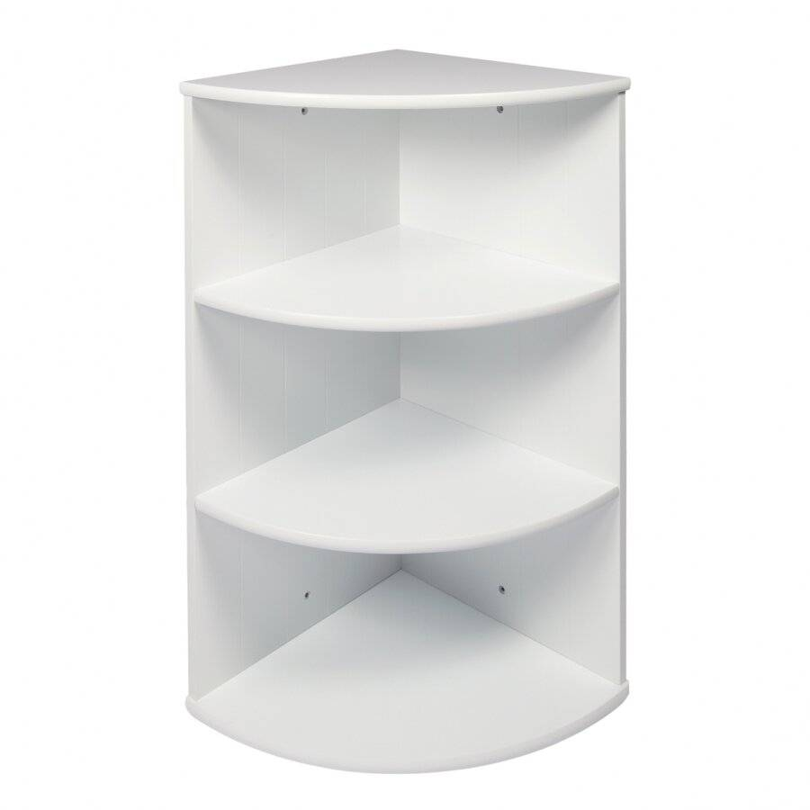 Woodluv 3 Tier MDF Wall Mounted Corner Cabinet- White