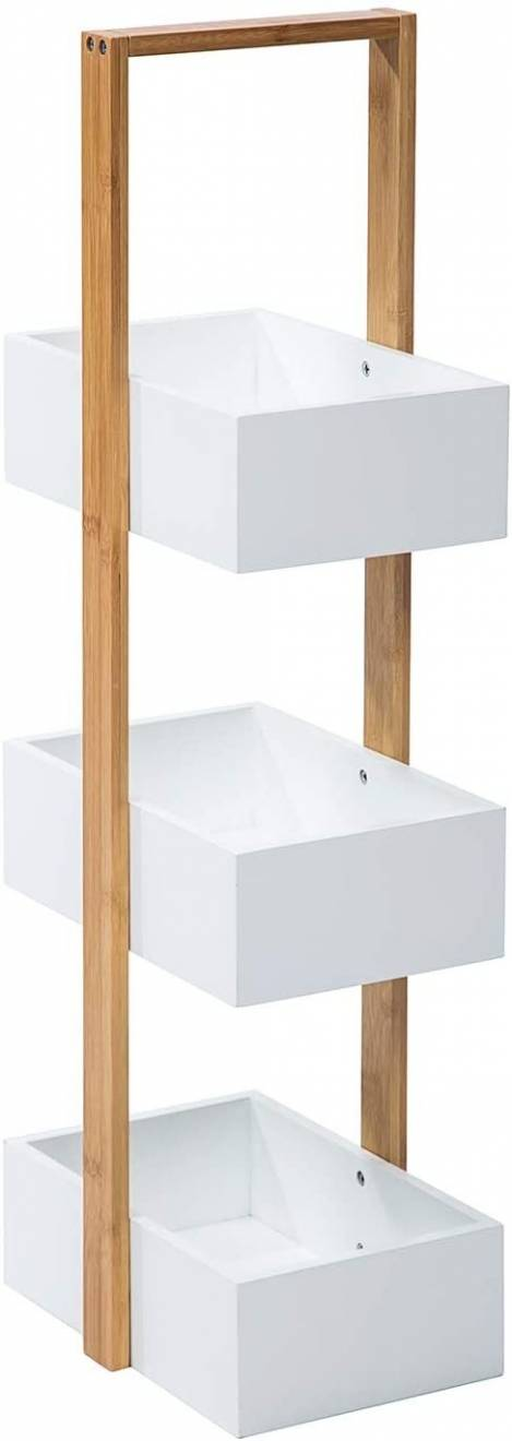 Woodluv 3 Tier Robust Bamboo and MDF Bathroom Storage Caddy - White