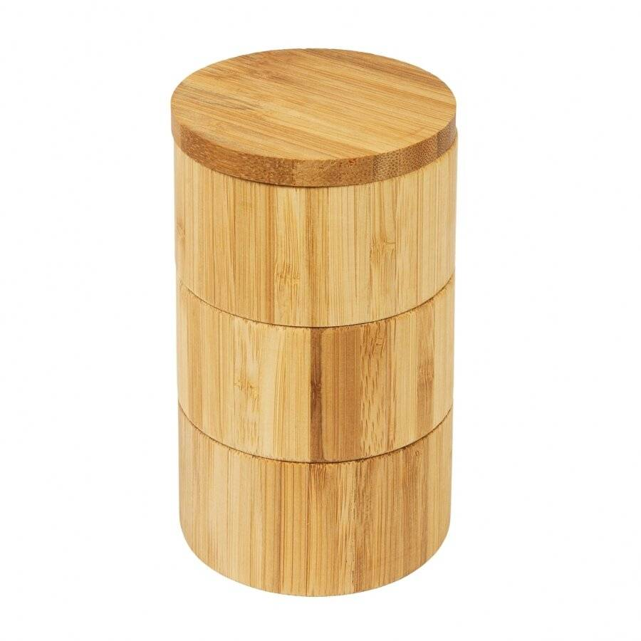Woodluv 3-Tiered Bamboo Spice Storage Box With Rotating Removable Lid