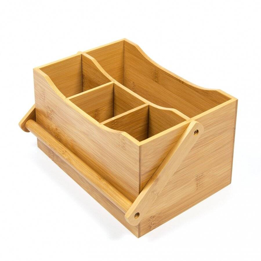 Woodluv 4 Compartment Drop Down Bamboo Utensil Caddy