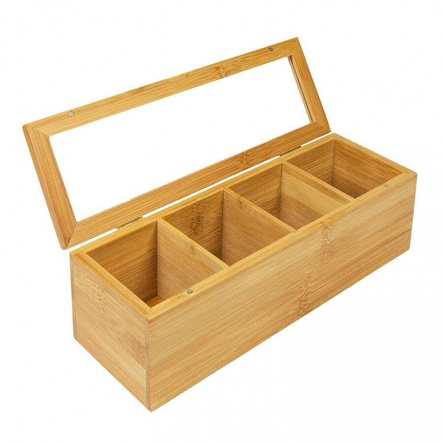 Woodluv 4 Compartment  BambooTea Bag Storage Caddy With Acrylic Lid