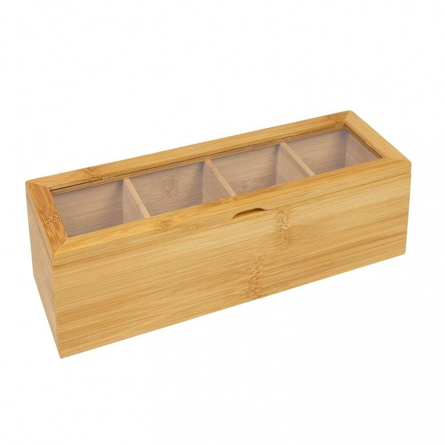Woodluv 4 Compartment  Bamboo Tea Bag Storage Caddy With Acrylic Lid