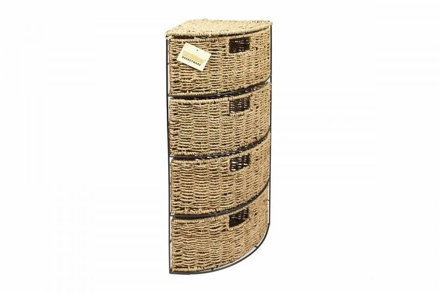 Woodluv 4 Drawer Corner Seagrass  Bathroom/Bedroom Storage Cabinet