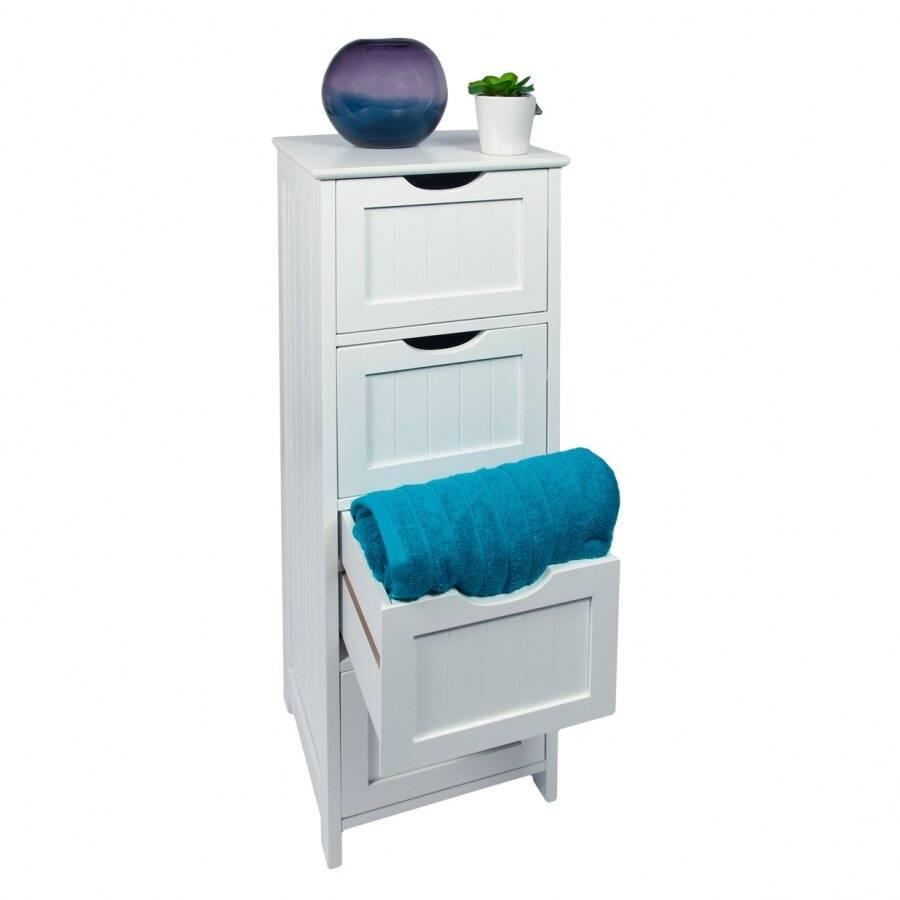 Woodluv 4 drawer Free Standing Bathroom Storage Cabinet - MDF
