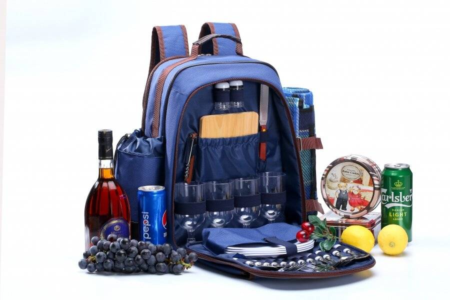4 Person Picnic Backpack W/Accessory, Blanket & Wine Cooler Bag