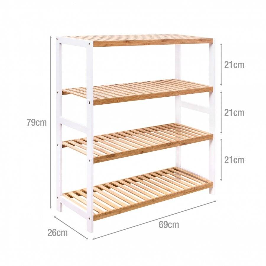Woodluv 4 Tier Free standing Bamboo Wood Shoe Organizer