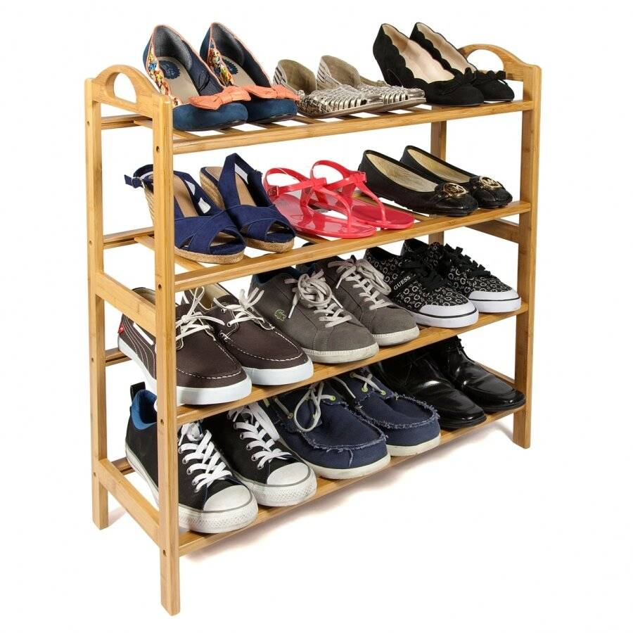 Woodluv 4 Tier Luxury Natural Bamboo Wooden Shoe Organizer