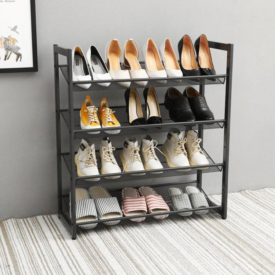 Woodluv  4 Tier Natural Bamboo Wood Criss Cross Shoe Rack