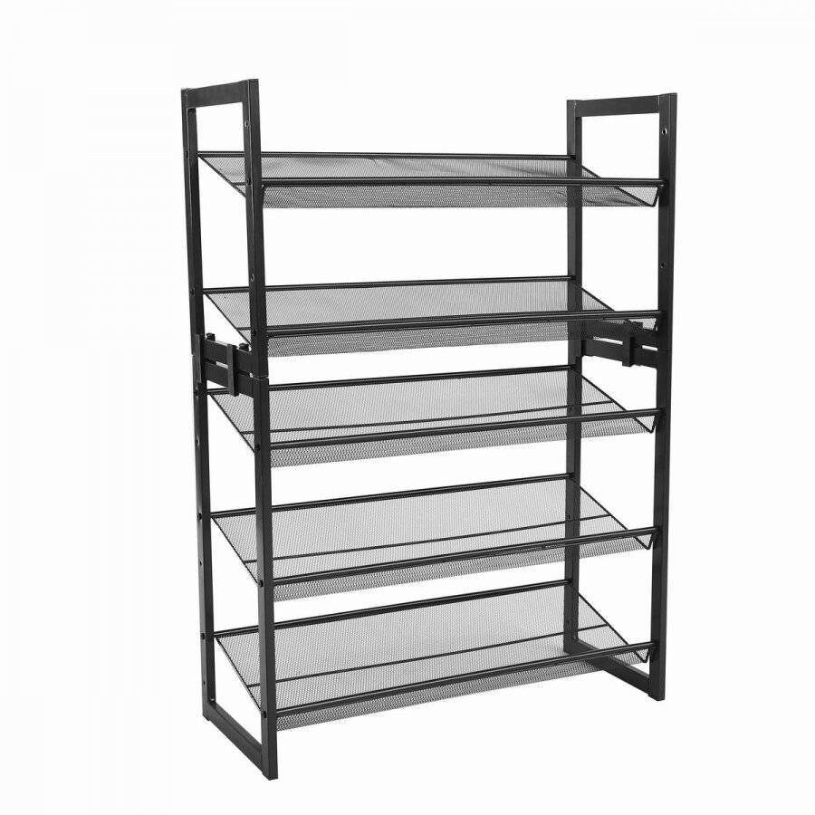 Woodluv Four Tier Stackable Metal Steel Mesh Shoe Rack - Grey