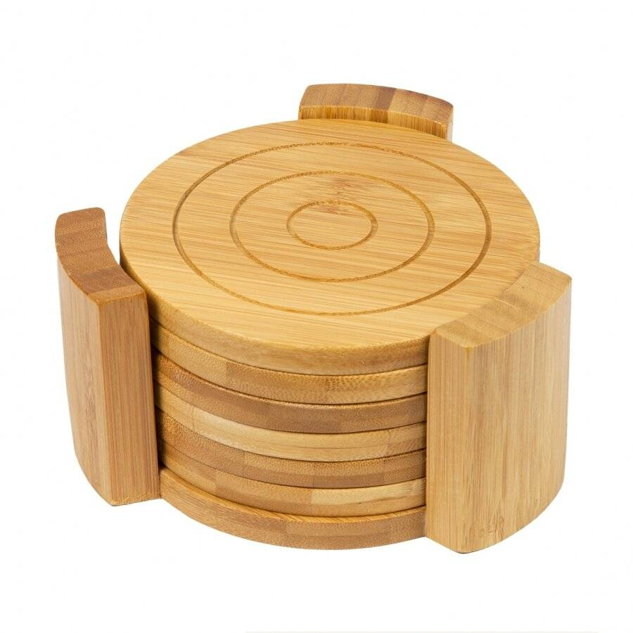 Woodluv 6 Bamboo Round Coaster Set in Bamboo Holder Pot Holder