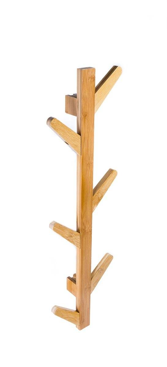 Woodluv 6 Hook Wall-Mounted Bamboo Tree Branch Coat Hook - Natural