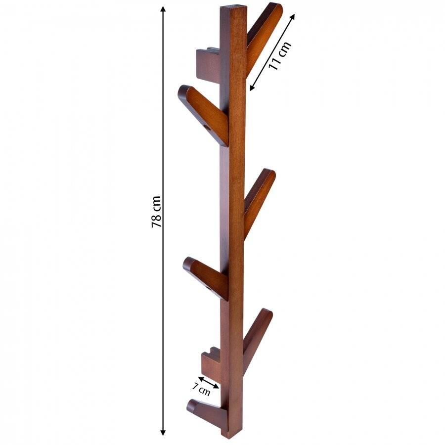 Woodluv 6 Hook Wall-Mounted Bamboo Tree Branch Coat Hook - Walnut