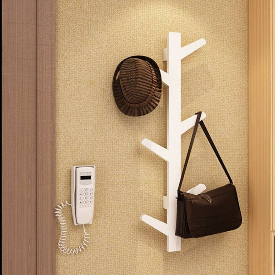 Woodluv 6 Hook Wall-Mounted Bamboo Tree Branch Coat Hook - White