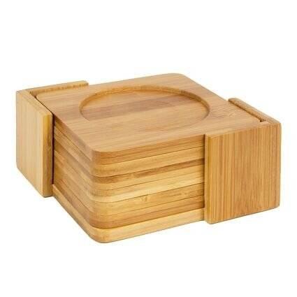 Woodluv 6 Natural Bamboo Wood Square Coaster Set With Bamboo Coaster Holder