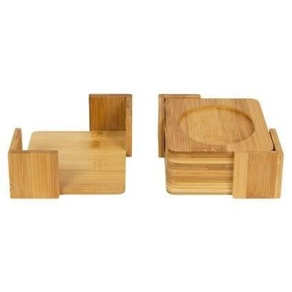 Woodluv 6 Bamboo Wood Square Coaster Set With Coaster Holder