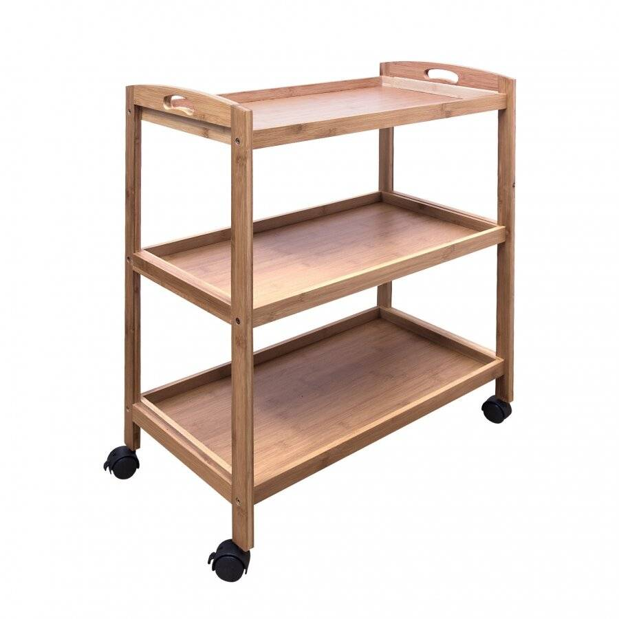Woodluv Bamboo 3 Tiers Kitchen Storage Trolley With Wheels