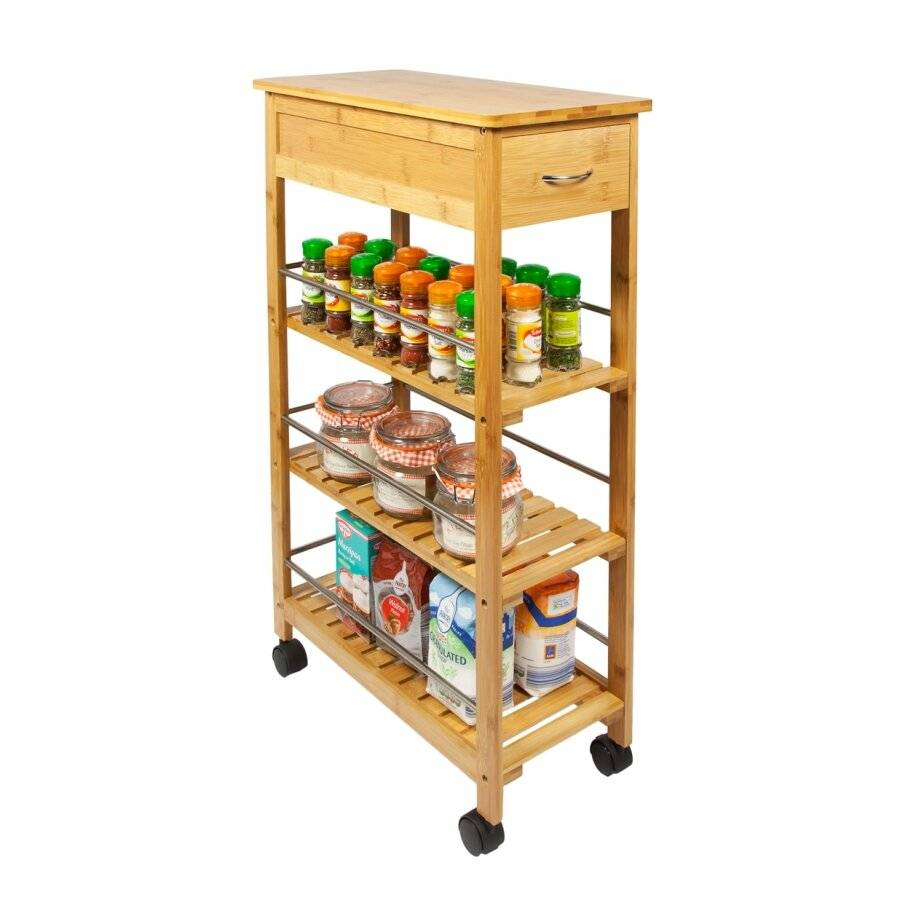 Woodluv Bamboo 3 Tier Kitchen Trolley  With Storage drawer & Wheels