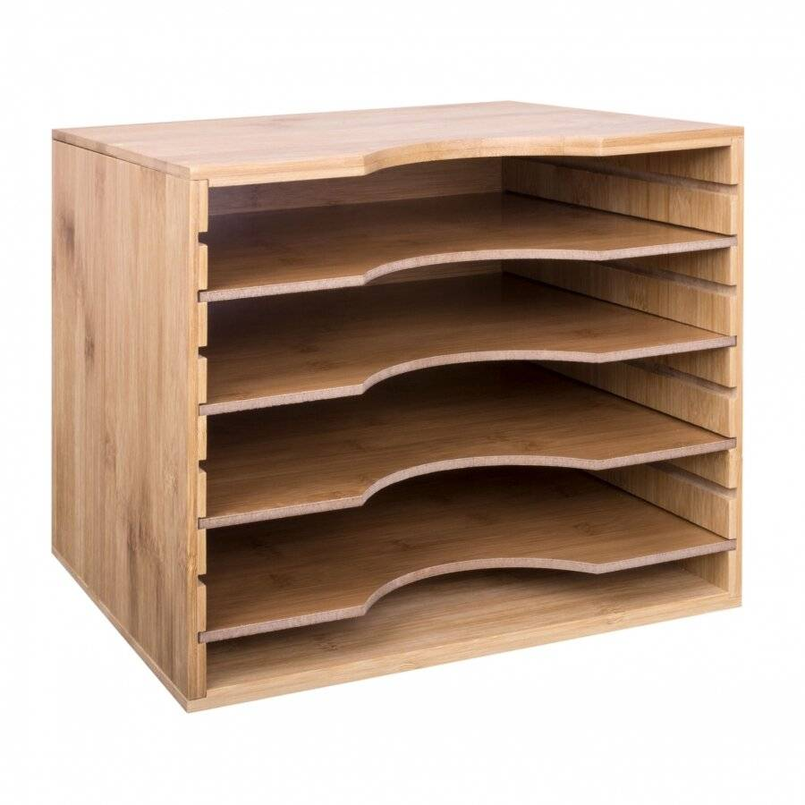 Woodluv Bamboo 5 Sections Adjustable A4 File Organizer