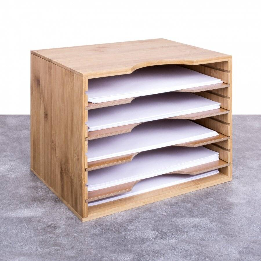 Woodluv Bamboo 5 Sections Adjustable A4 File Organiser