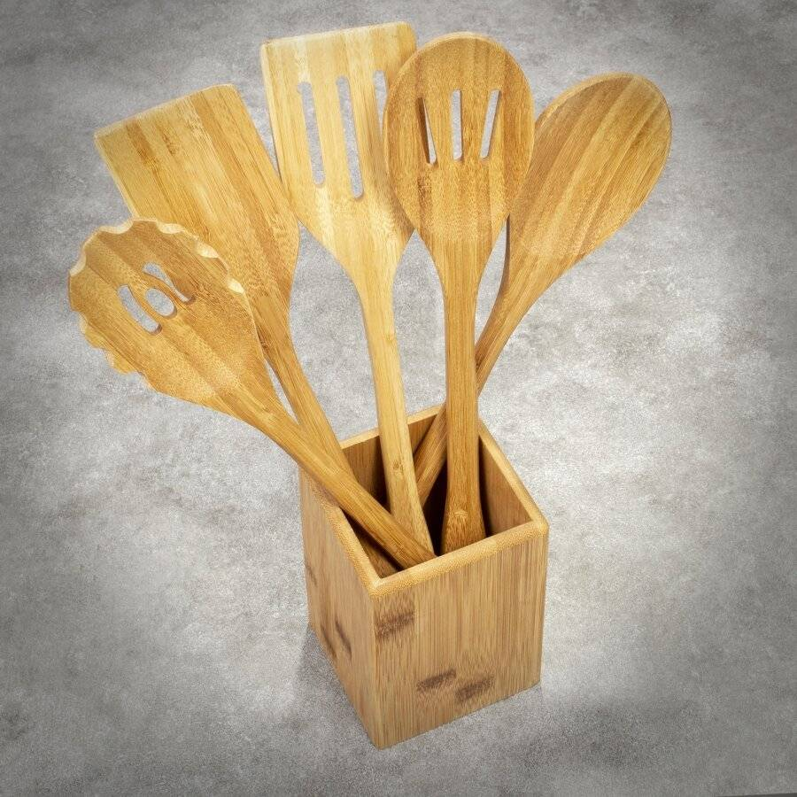 Bamboo Set of 6 Cooking Utensils and Serving Accessories With Holder