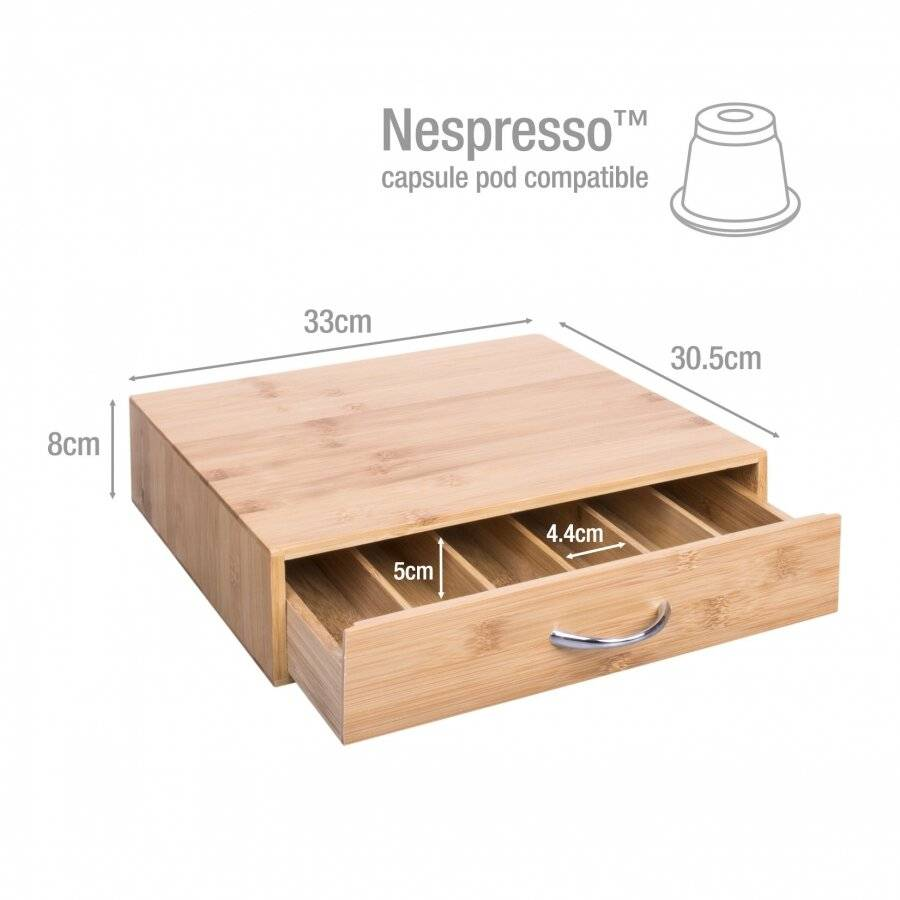 Woodluv Bamboo Coffee Pod and Tea bag Storage Cabinet