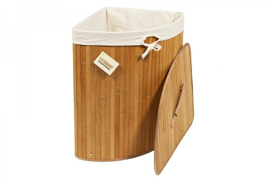 Woodluv Bamboo Corner Laundry Linen Storage Folding Basket, Natural