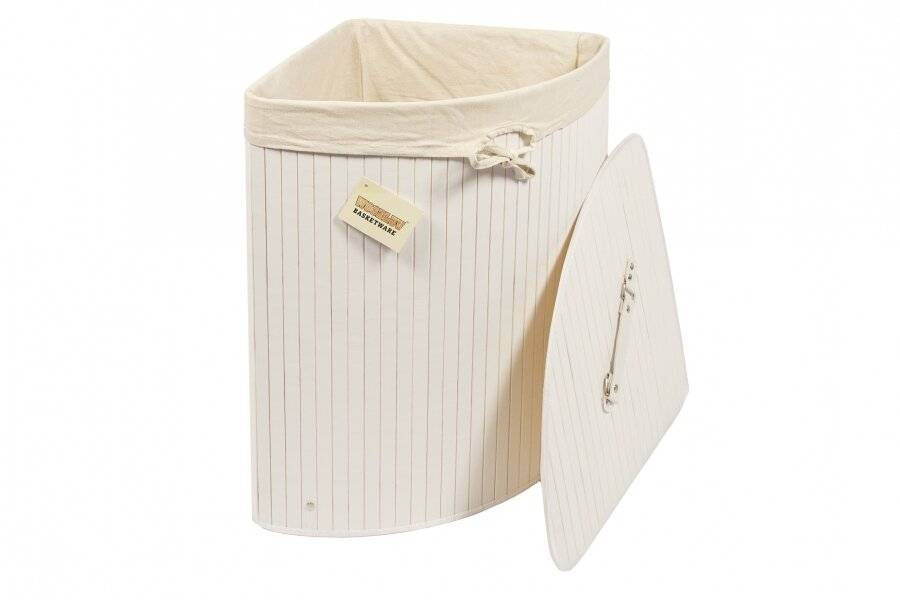 Woodluv Bamboo Corner Laundry Linen Storage Folding Basket, White