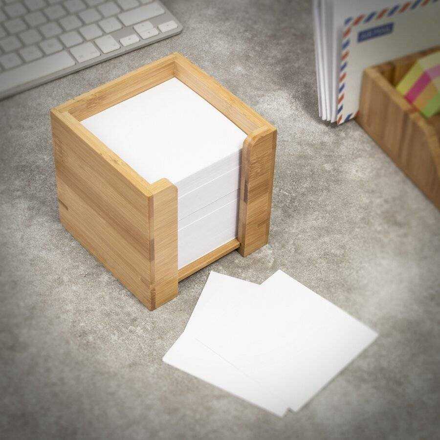 Bamboo Cube Note Pad Dispenser With Square Paper Memo Notes