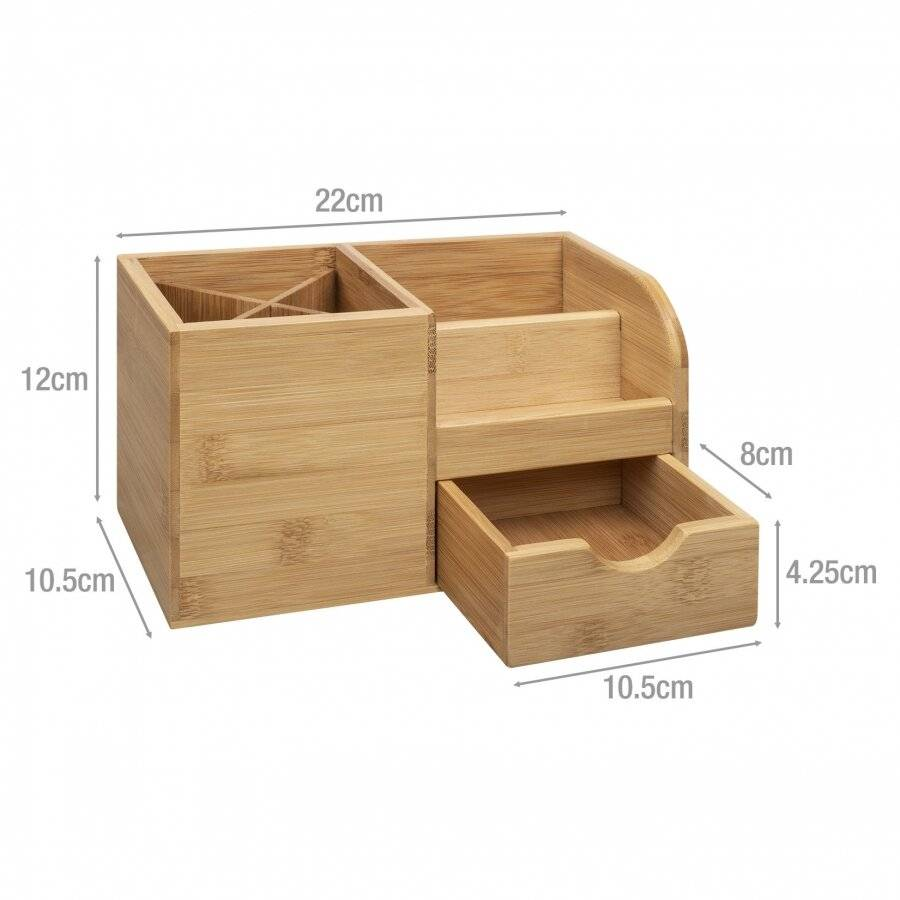 Bamboo Multi Purpose Desk Stationary or Make-up Organizer